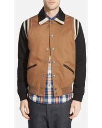 Diesel 'Toku' Varsity Jacket With Leather Trim brown - Lyst