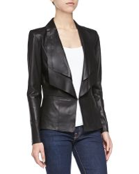 Lamarque Long Leather Jacket W/ Double Collar - Lyst