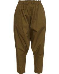 Yohji Yamamoto Regulation | Cropped Cotton-twill Trousers | Lyst