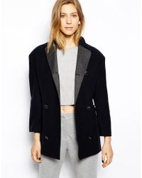 Le Mont St Michel Jacket Wool Mix Coat with Contrast Collar - Lyst