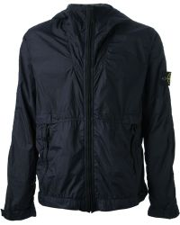 Stone Island Blue Hooded Jacket - Lyst