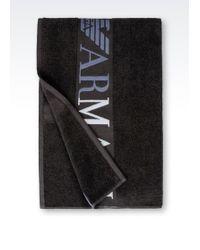 Emporio Armani Beach Towel gray - Lyst