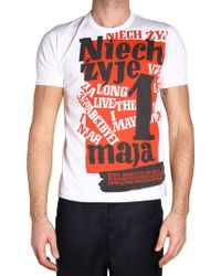 Comme des Garçons   White And Red T-shirt   Lyst