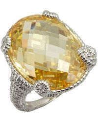 Judith Ripka Canary Crystal And White Sapphire Oval Single Heart Ring - Lyst