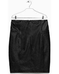 Mango Leather Pencil Skirt - Lyst