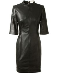 Saint Laurent Black Lamb Leather Dress - Lyst