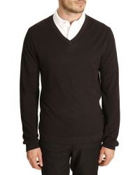 Lacoste Scalloped Black Sweater - Lyst