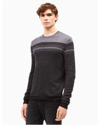 CALVIN KLEIN 205W39NYC - Merino Wool Blend Pattern Blocked Sweater - Lyst