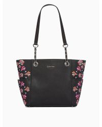 Calvin Klein | Floral Printed Saffiano Tote Bag | Lyst
