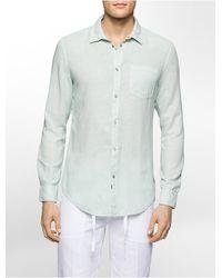CALVIN KLEIN 205W39NYC - Jeans Slim Fit Linen Blend Shirt - Lyst
