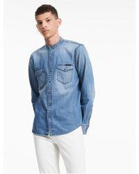CALVIN KLEIN 205W39NYC - Band Collar Denim Shirt - Lyst