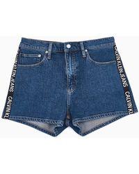 Calvin Klein High Rise Denim Shorts - Blue