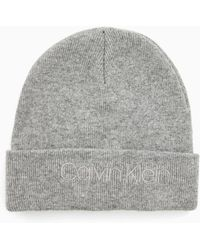 62a88f324de Calvin Klein Wool Blend Cable Beanie in Red - Lyst