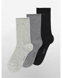 Calvin Klein - Underwear 3-pack Combed Cotton Rolled Cuff Crew Socks - Lyst
