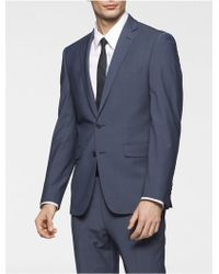 CALVIN KLEIN 205W39NYC - Body Slim Fit Blue Chambray Suit Jacket - Lyst