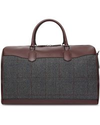 Canali - Bordeaux Leather Bag With Impeccabile Wool Insert - Lyst