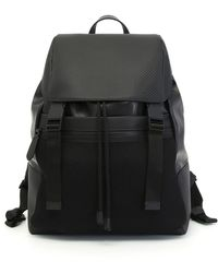 Canali - Black Calfskin Leather Backpack With Carbon Texture - Lyst