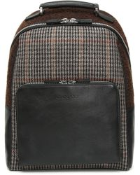 Canali - Black Leather Backpack With Dark Brown Houndstooth Fabric Inserts - Lyst