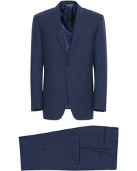 Canali - Navy Blue Impeccabile Wool Siena Suit With Prince Of Wales Check - Lyst