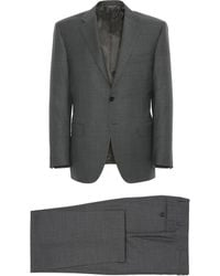 Canali - Dark Gray Wool Siena Suit With Micro-motif - Lyst