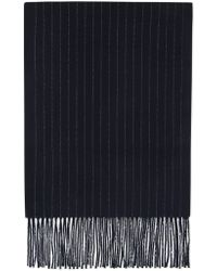 Canali - Dark Blue Pure Wool Scarf With Pin Stripes - Lyst