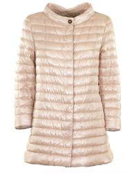 Herno - Rossella Soft Pink Medium Length Cowl Neck Down Jacket - Lyst