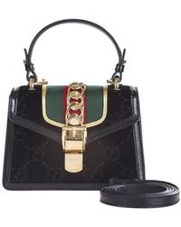 Gucci - Sylvie Mini Bag In Gg Black Velvet With Black Patent Leather Trim - Lyst