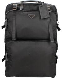Prada Wheeled Luggages Unisex Black