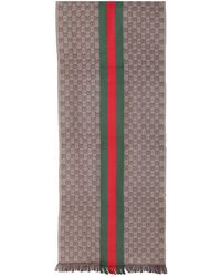 Gucci Scarf In Jacquard Wool With Gg And Web Motif - Multicolour
