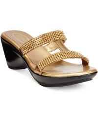 Callisto Ilana Embellished Slide Sandals - Lyst