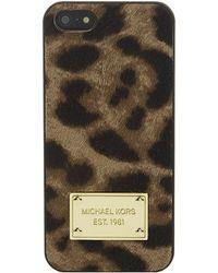 MICHAEL Michael Kors Leopard Print Calfhair Iphone 5 Cover - Lyst