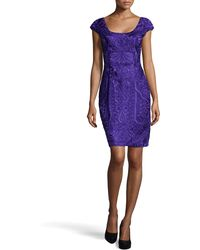 Sue Wong Fitted Embroidered Cap-sleeve Dress - Lyst