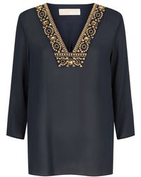 MICHAEL Michael Kors Embellished V-Neck Tunic Top - Lyst