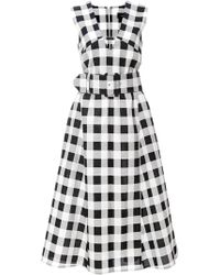 Derek Lam Belted Gingham Faille Dress - Lyst