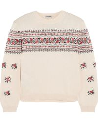 Miu Miu Floral-Intarsia Cotton Sweater - Lyst
