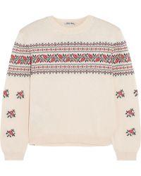 Miu Miu Floral-Intarsia Cotton Sweater - Lyst