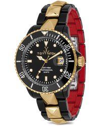 Toy Watch - Toymrhyde Studded Twotone Plasteramic Watch Blackred - Lyst