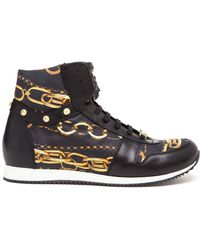 Versus  Gold Link Chain High Top Trainers - Lyst