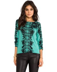 Twelfth Street Cynthia Vincent - Carey Feather Print Pullover in Turquoise - Lyst