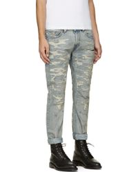 Diesel Blue Distressed Thavar Jeans - Lyst