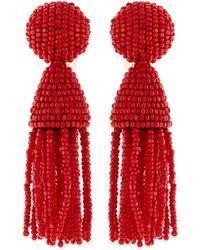 Oscar de la Renta Beaded Short Tassel Clipon Earrings - Lyst