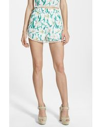 Missguided Floral Print Pom Shorts - Lyst