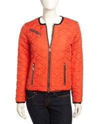 French connection Boxy Quilted Fauxleather Trimmed Jacket - Lyst