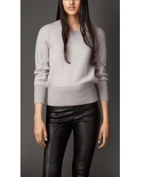 Burberry Wool Cashmere Blend Sweatshirt - Lyst