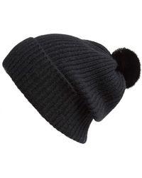 Badgley Mischka | Rib Knit Beanie With Genuine Mink Pompom | Lyst