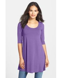 Eileen Fisher Scoop Neck Elbow Sleeve Jersey Tunic - Lyst