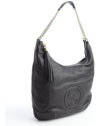 Gucci Black Grained Leather Soho Shoulder Bag - Lyst