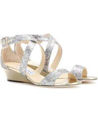 Jimmy Choo Chiara Glitter Sandals - Lyst