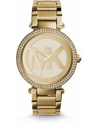 Michael Kors Parker Pavé-embellished Gold-tone Watch - Lyst