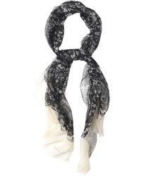 Alexander McQueen Lace and Skullprint Cotton Scarf - Lyst